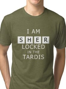 Sherlocked in the Tardis Slate Tri-blend T-Shirt