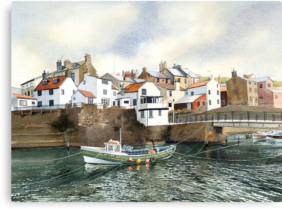 The Beck and Footbridge at Staithes by Graham Clark