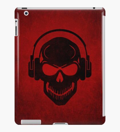 Skull with Headphones - Rave - Electro - Hardstyle iPad Case/Skin