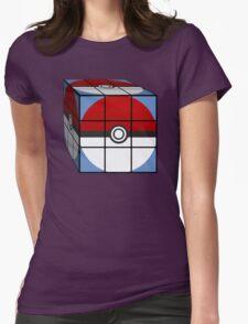 Poke Ball Rubik's Cube Womens Fitted T-Shirt
