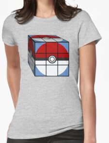 Poke Ball Rubik's Cube Womens Fitted T-Shirt