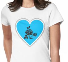 XO Blue Heart and Rose Womens Fitted T-Shirt