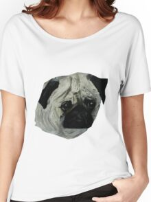 Pug Dog Fine Art Contemporary Acrylic Painting Women's Relaxed Fit T-Shirt