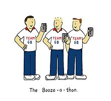Booze-a-thon, team GB, men drinking beer. Photographic Print