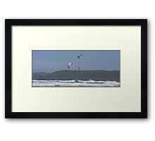 Kitesurfing in the Ocean - Three kites in the distance Framed Print