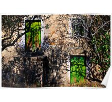 green doors, abandoned house in Monsanto, Beira Baixa, Portuga Poster