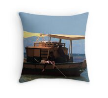 fisherman's boat adrift Throw Pillow