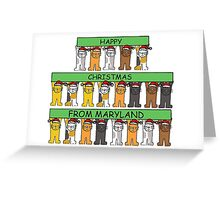 Cats in Santa hats Happy Christmas from Maryland. Greeting Card