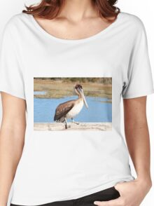 Brown & White Pelican  Women's Relaxed Fit T-Shirt