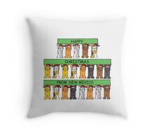 Cats in Santa hats Happy Christmas from New Mexico. Throw Pillow