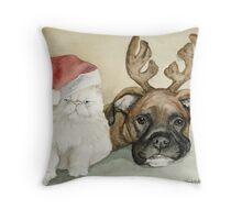 Boxer and Persian Cat Christmas Throw Pillow