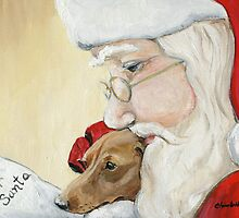 Dachshund and Santa Christmas by Charlotte Yealey