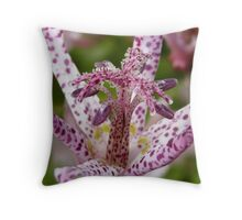 pink spotted flower Throw Pillow