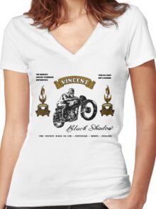 vincent motor shirt Women's Fitted V-Neck T-Shirt