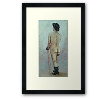 Life study in black cap, glove and boots Framed Print