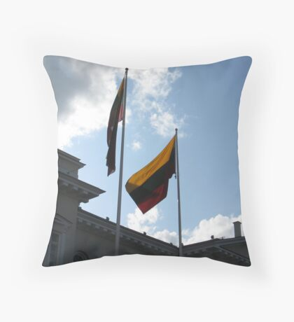 Lithuanian flag and parliament Throw Pillow