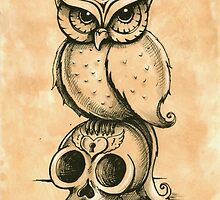 Owl and Skull by Isobel Von Finklestein