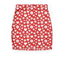 Flowers and hearts pattern Pencil Skirt