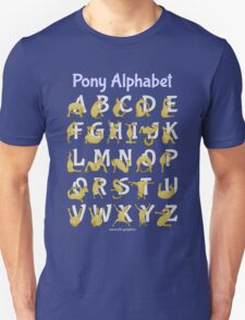 Pony Alphabet, Blue Unisex T-Shirt