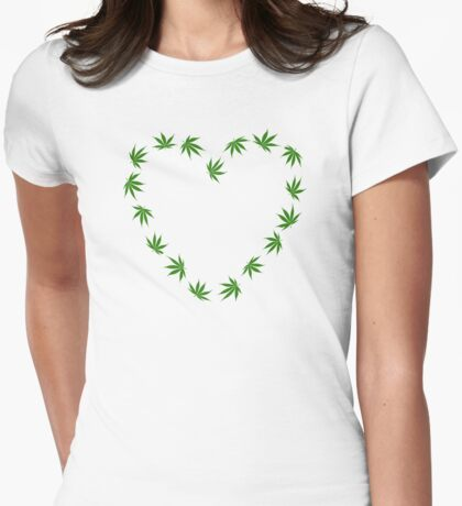 Marijuana heart Womens Fitted T-Shirt