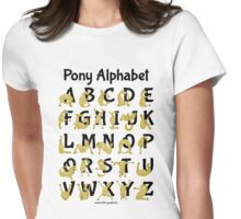 Pony Alphabet, Pink Womens Fitted T-Shirt
