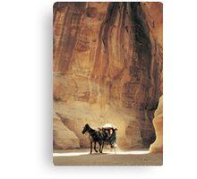 Cart in Siq, Petra, Jordan Canvas Print