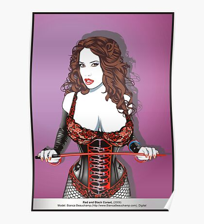 Red and Black Corset Poster