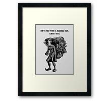 Happy Mask Salesman Framed Print