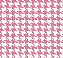 Retro girly pink white houndstooth pattern by Maria Fernandes