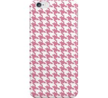Retro girly pink white houndstooth pattern iPhone Case/Skin