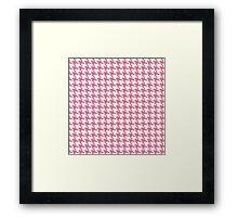 Retro girly pink white houndstooth pattern Framed Print