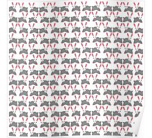 Cute pink and gray bunny rabbit pattern Poster