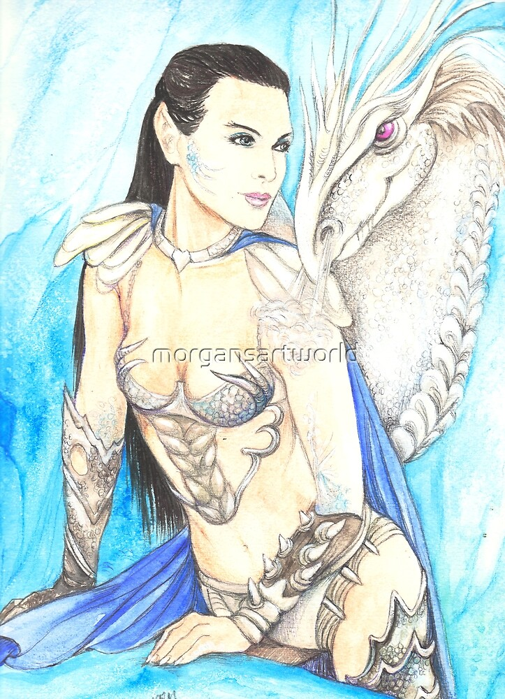 Koriah and White Dragon by morgansartworld