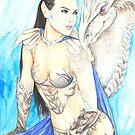Koriah and White Dragon by morgansartworld