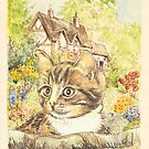 Cat in a Cottage Garden 1 by morgansartworld