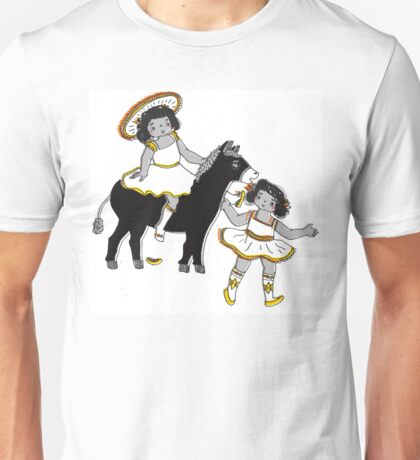 2 Little Girl Fun Ride on a Donkey Unisex T-Shirt