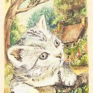 Cat in a Cottage Garden 2 by morgansartworld