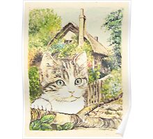 Cat in a Cottage Garden 3 Poster