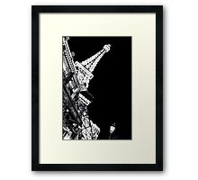 Paris Las Vegas At Night Black and White vertical poster Framed Print