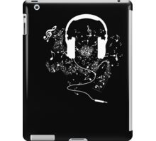 Headphones and music notes white iPad Case/Skin