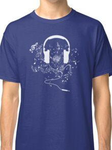 Headphones and music notes white Classic T-Shirt