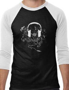 Headphones and music notes white Men's Baseball ¾ T-Shirt