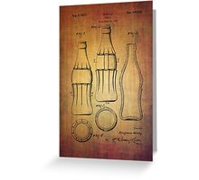 Coca Cola bottle vintage patent 1937 with grunge texture Greeting Card