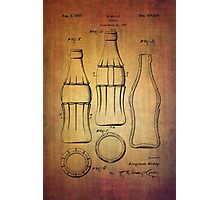 Coca Cola bottle vintage patent 1937 with grunge texture Photographic Print