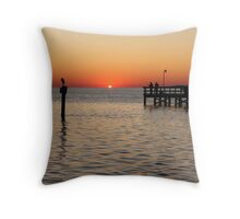 A new day, fishing on the York River in Virginia Throw Pillow