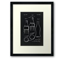 Coca Cola Bottle Vintage Patent On Black Framed Print