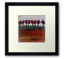 Fall Evening in the Forest, mixed media on canvas Framed Print