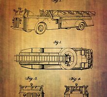 Grybos Vintage Fire Truck Patent From 1940 by Eti Reid
