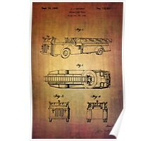 Grybos Vintage Fire Truck Patent From 1940 Poster