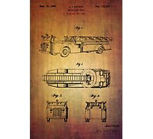Grybos Vintage Fire Truck Patent From 1940 Photographic Print